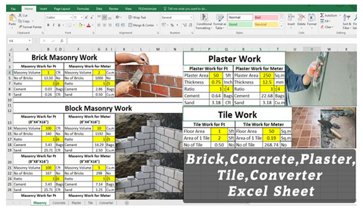 Free Excel Sheet Download for Brick, Concrete Mix, Mortar