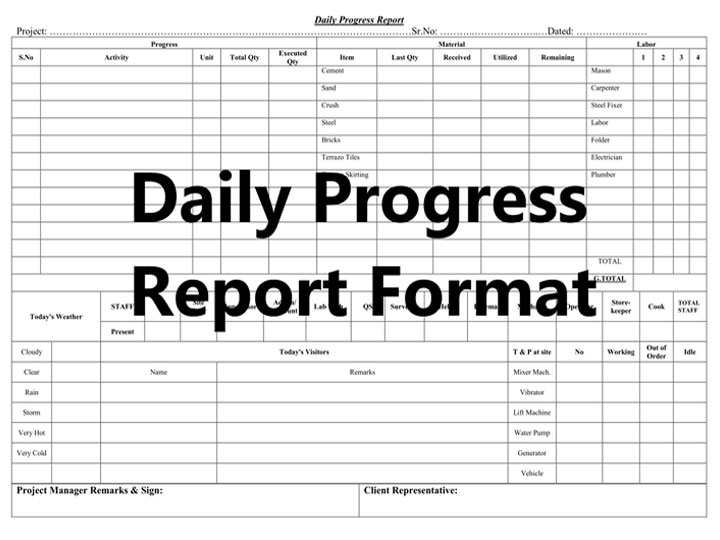 Construction Progress Report Sheet Free Download